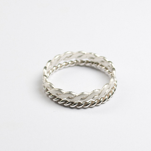 silver twist layered rings