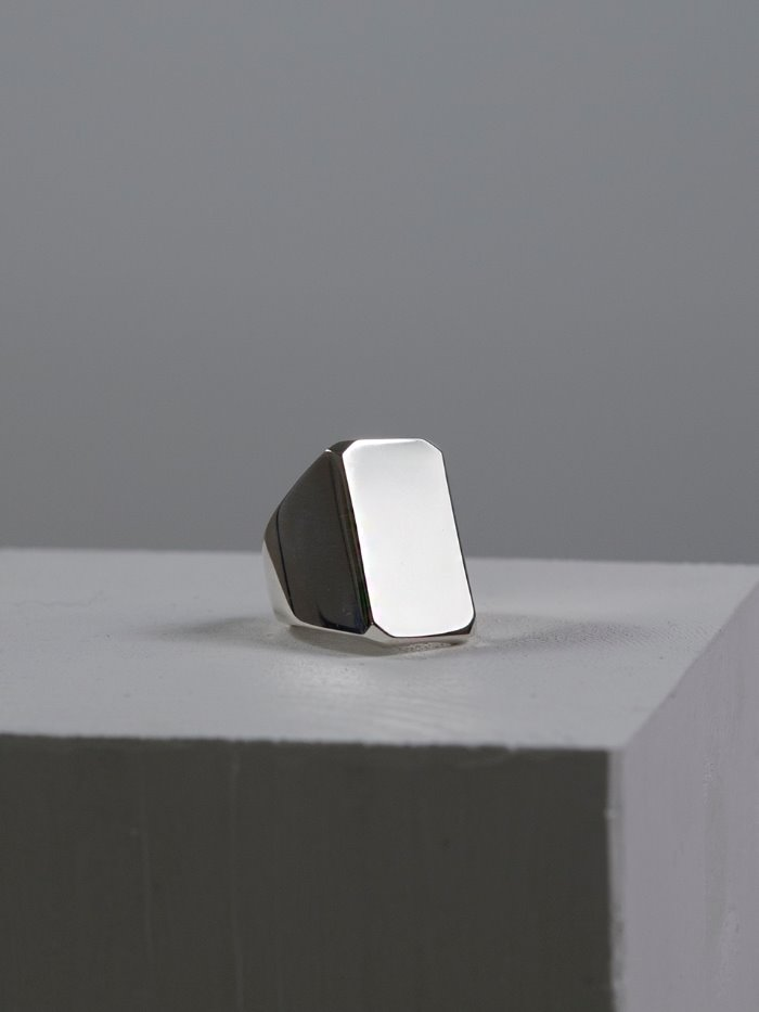 Square silver ring