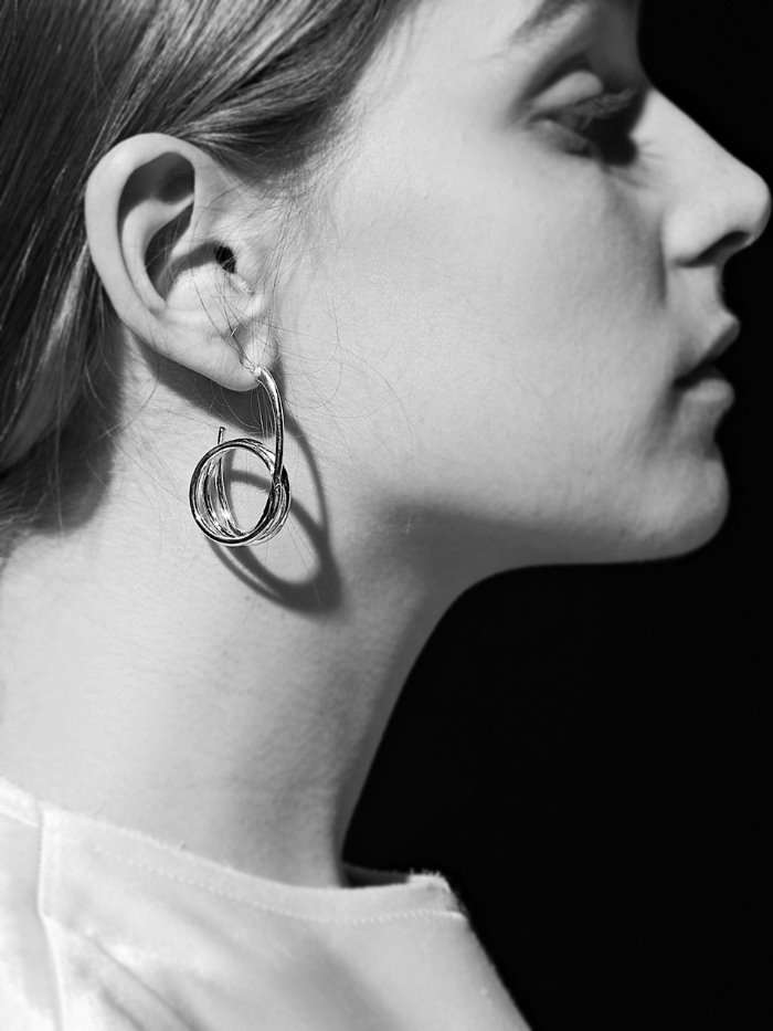 structural silver earring