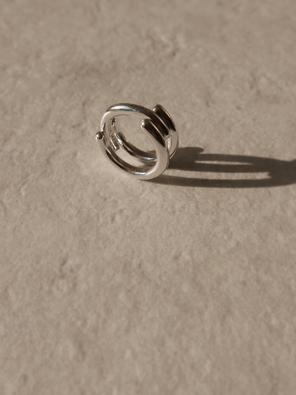 double circle silver ring