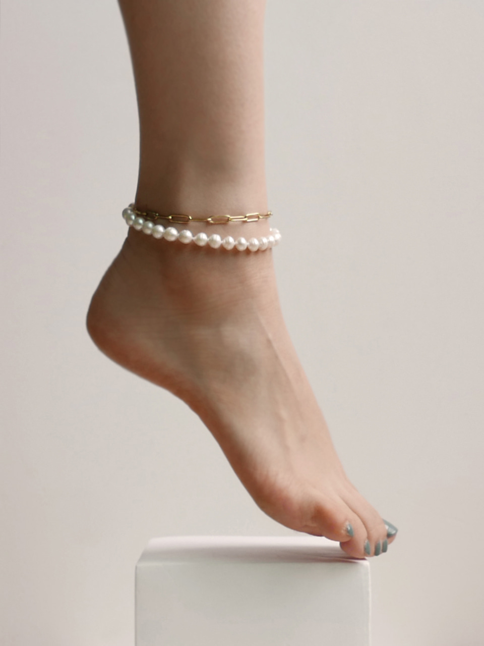 Pearls chain anklet 진주 체인 발찌