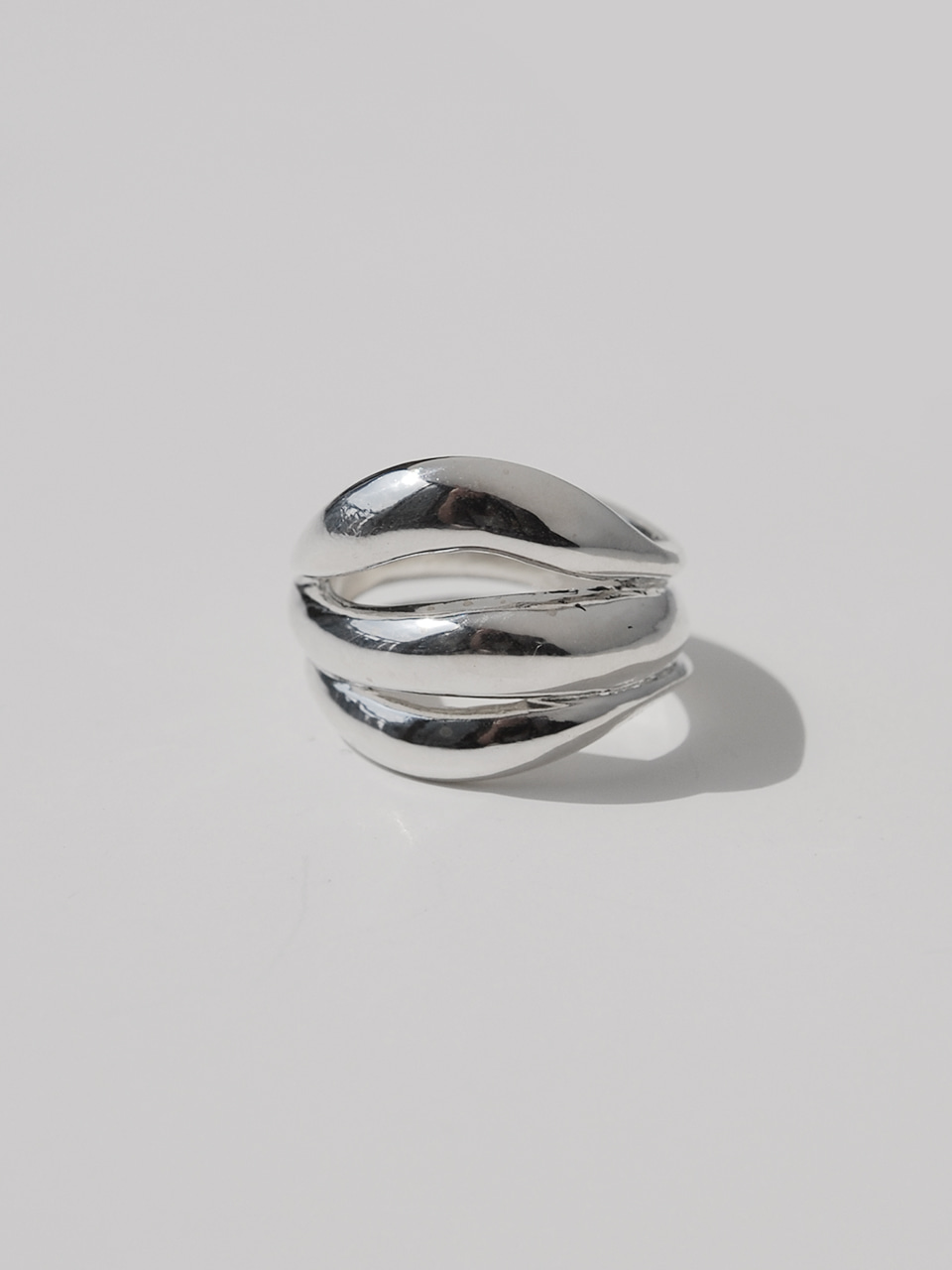 Bold wave silver ring