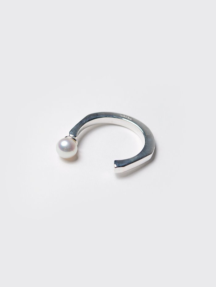 Open pearl silver ring
