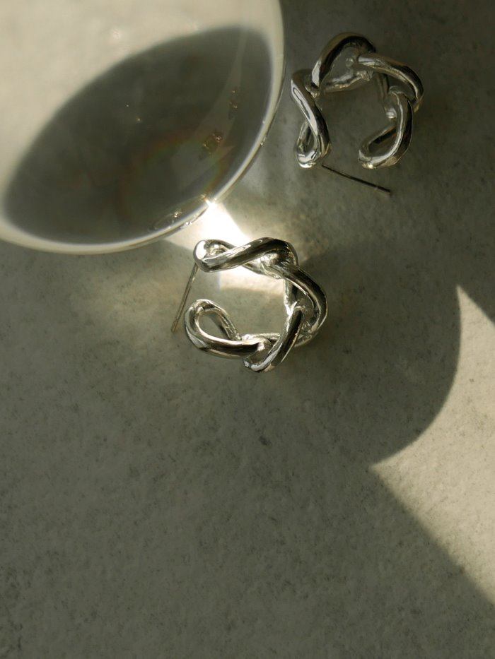 Bold chain earring silver