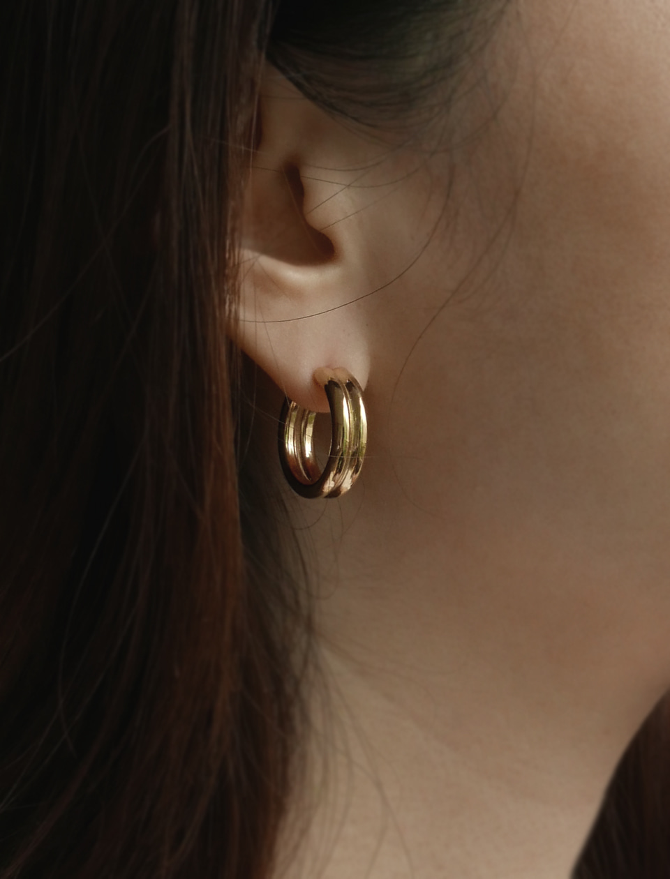 Double circle earrings(gold/silver)